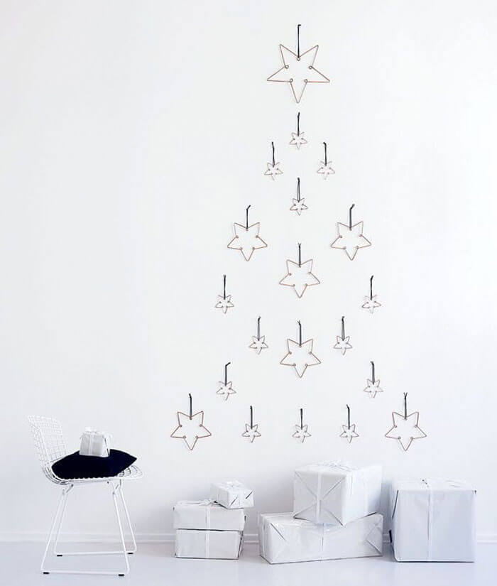 Creative Christmas tree from star ornaments