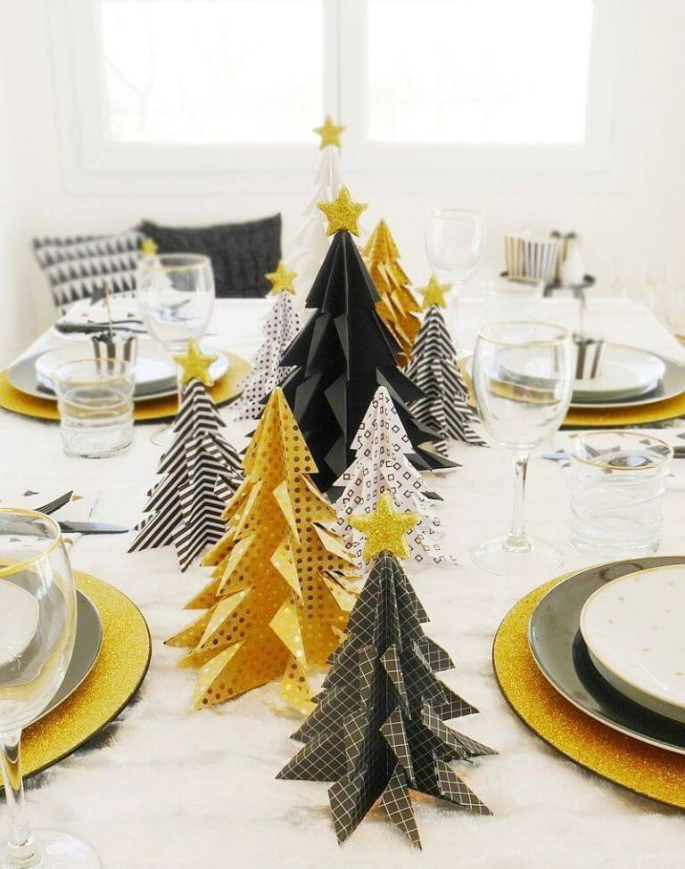 Modern ornaments Christmas table setting