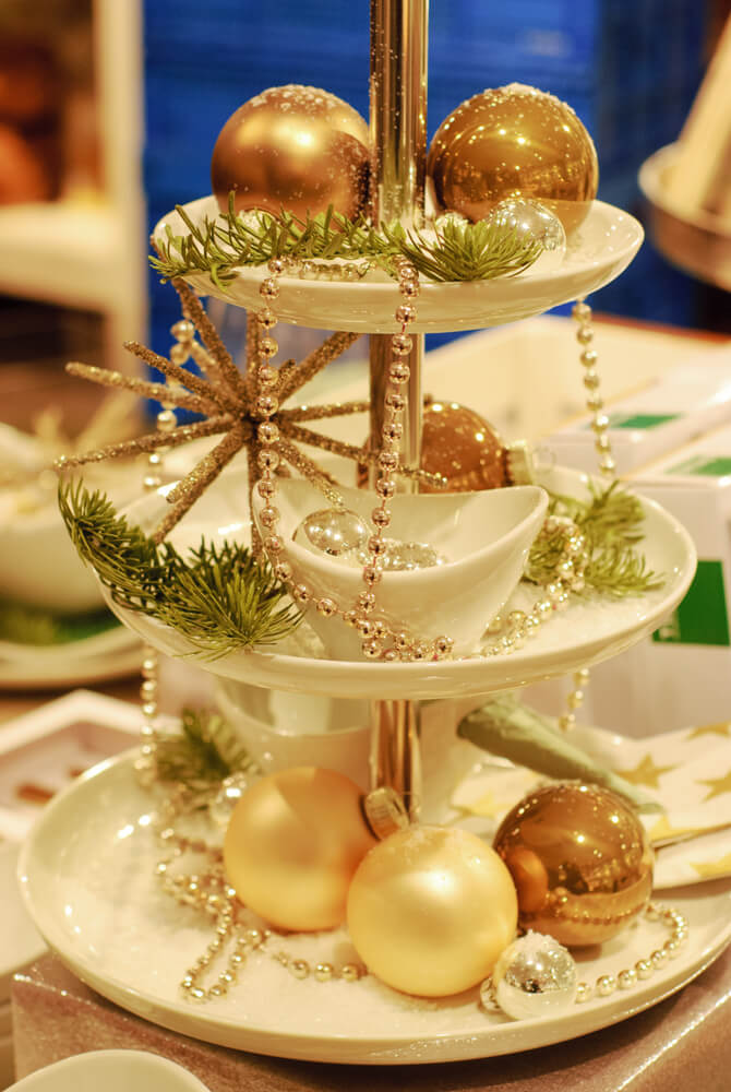 Festive golden Christmas table centerpiece