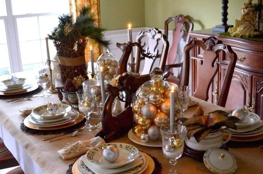 Rustic glam Christmas table setting