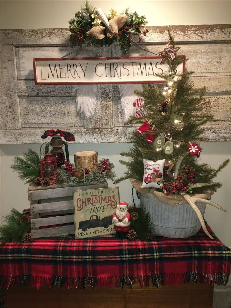 Country style Christmas table display