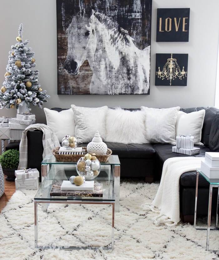 Black and white Christmas living room