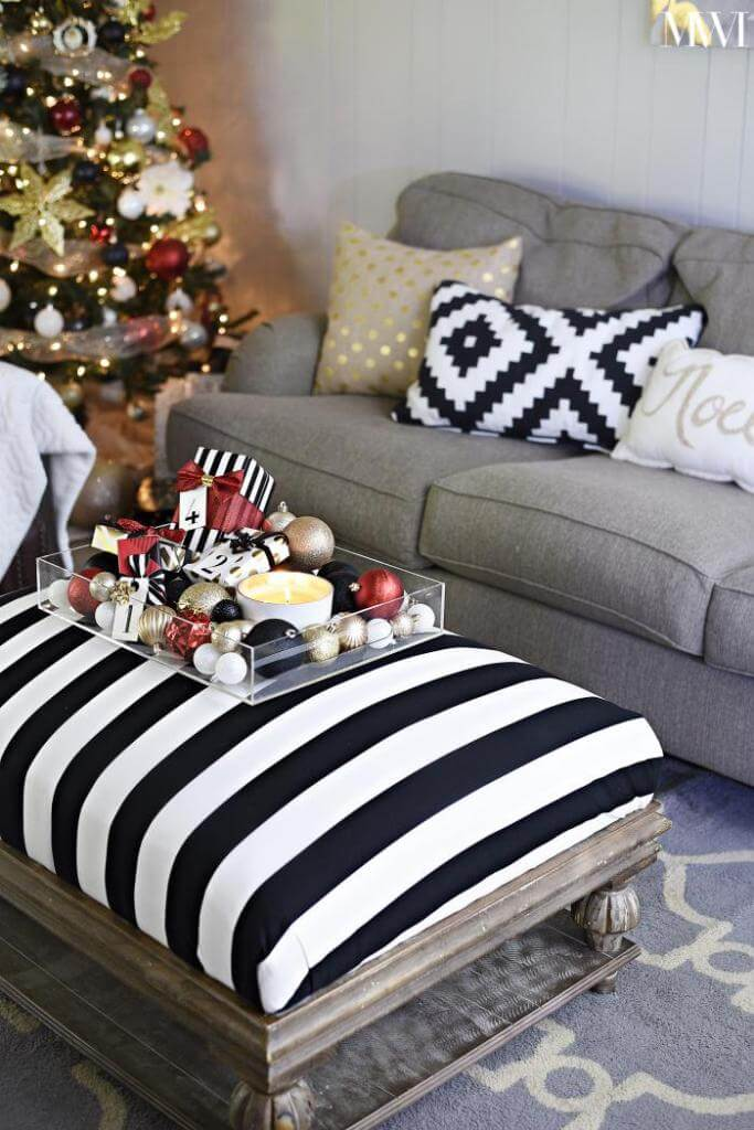 Black and white Christmas centerpiece Decor