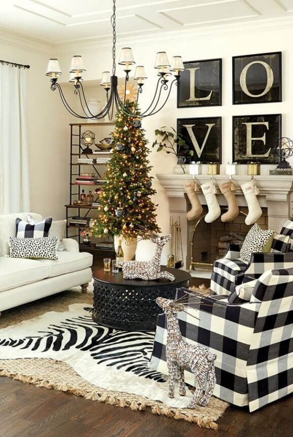 Whimsical black and white Christmas decor