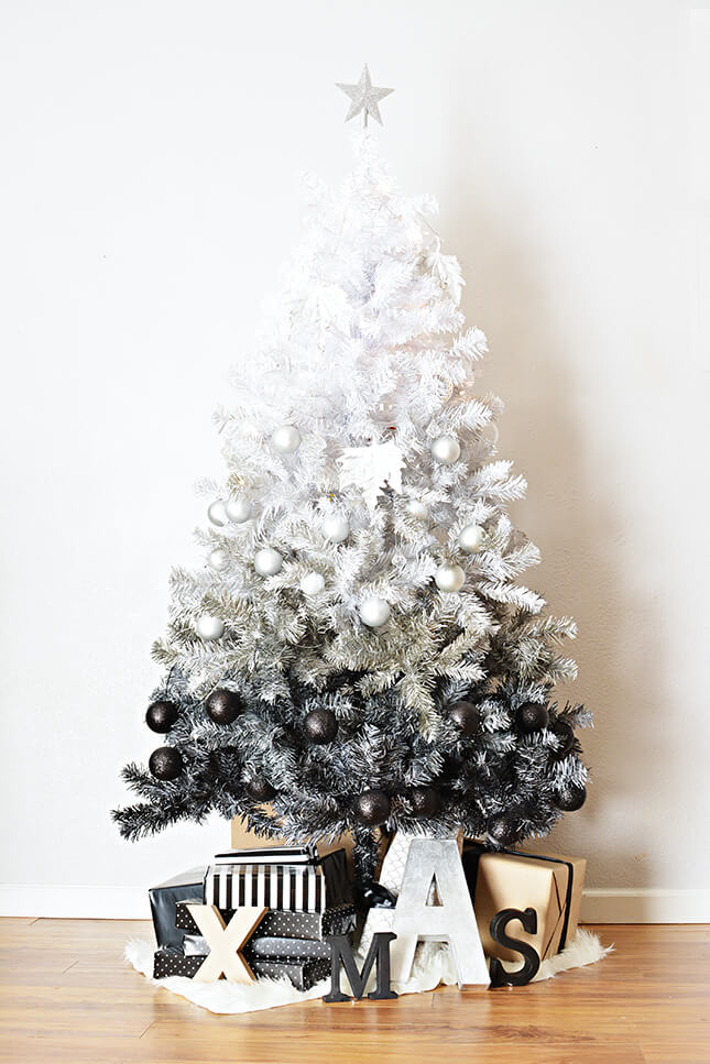 Ombre Black and White Christmas Tree