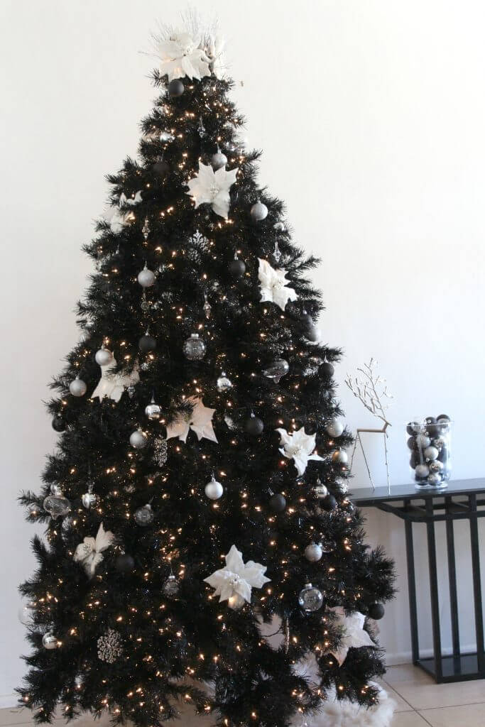 Black Christmas tree white decor