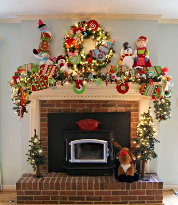 Fireplace Mantle Whimsical Christmas decoration