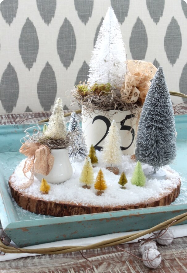 Rustic whimsical Christmas centerpiece