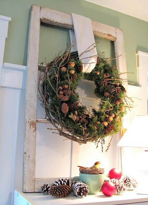 Wreath On The Mantle Rustic Decor