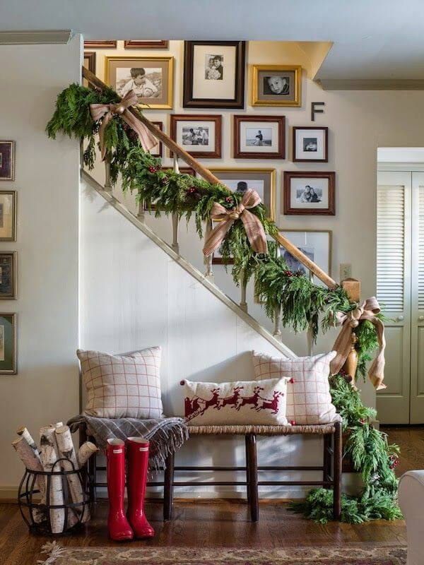 Natural rustic entrance staircase