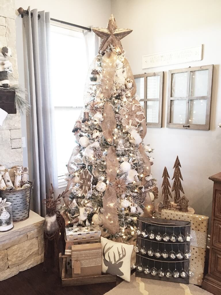 Farmhouse Christmas Tree Neutral Decor