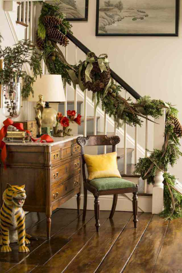 Staircase Rustic Wreath Garlands Decor