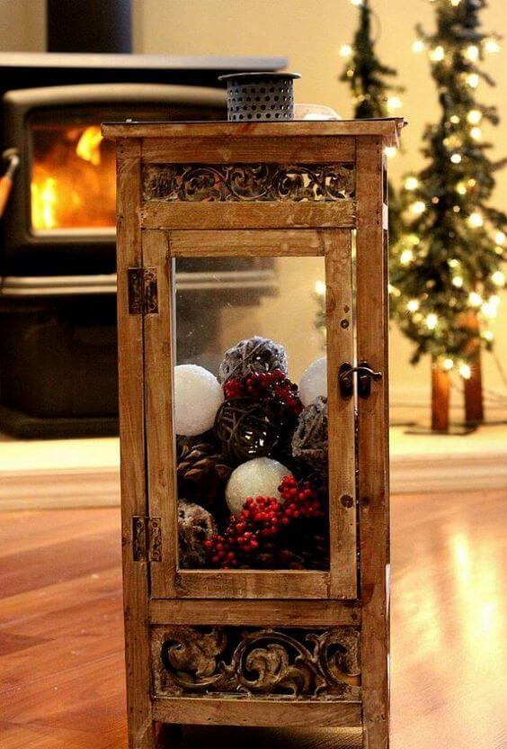 Christmas snowball filled lantern