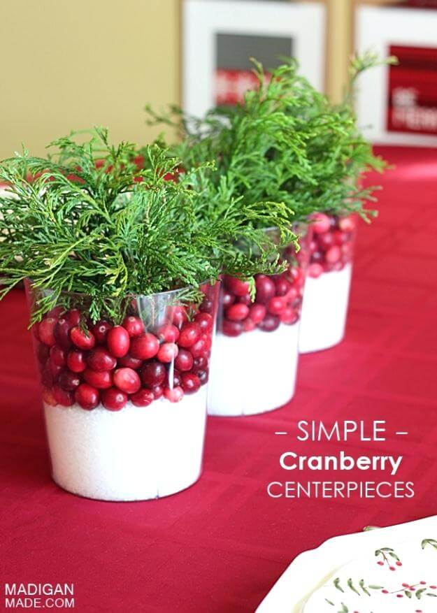 Cranberry Christmas Decor Centerpiece