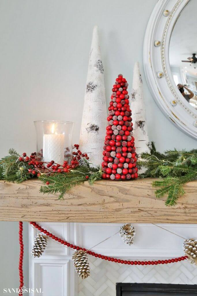 Fireplace Mantel Cranberry Christmas Decor