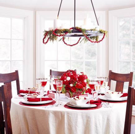 Cranberry Garland Chandelier Decor