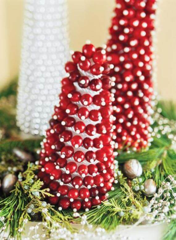 Mini Cranberry Christmas Trees Decor
