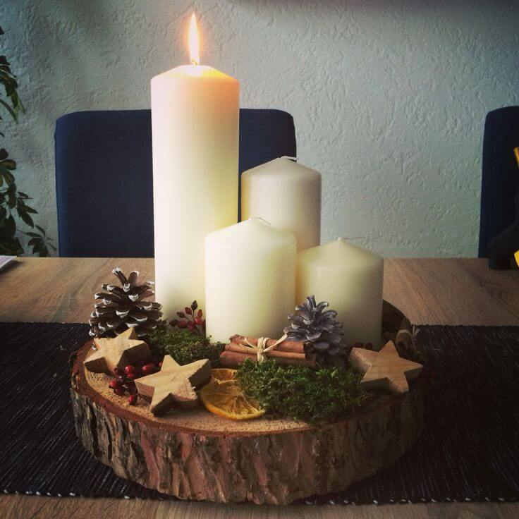 Rustic bright Christmas centerpiece