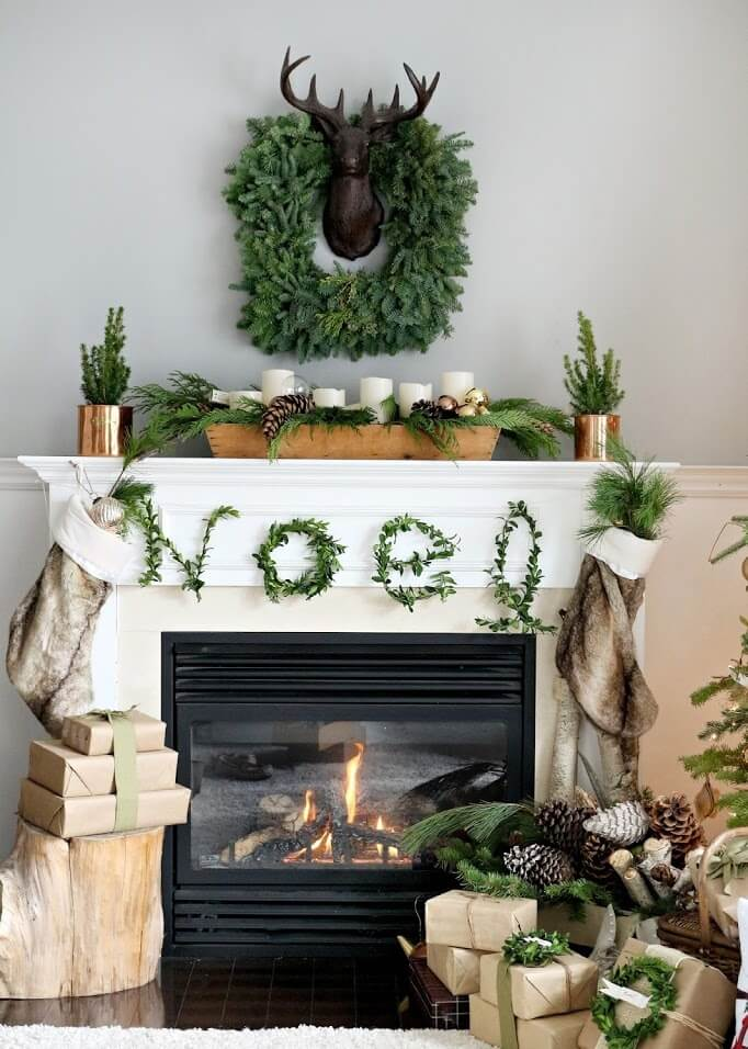 Fireplace Mantel light decoration