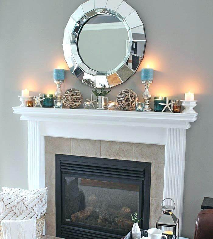 Coastal fireplace light decoration