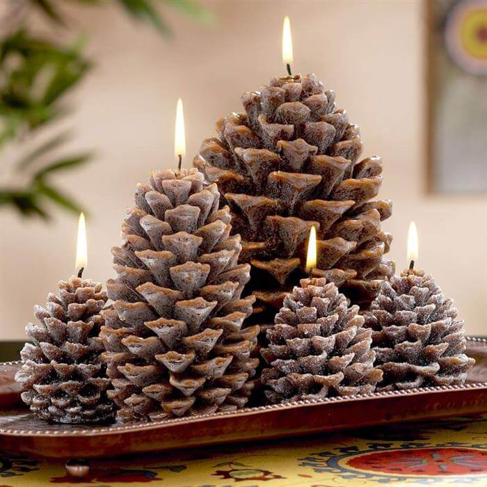 Pinecone Candles Christmas Centerpiece