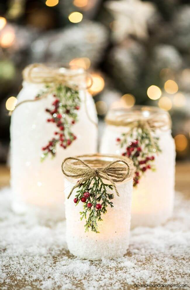 Christmas DIY Snowy Mason Jar