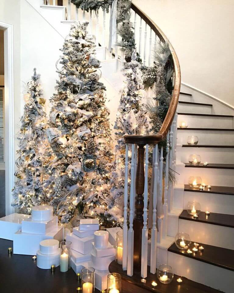 Staircase candle decor for Christmas