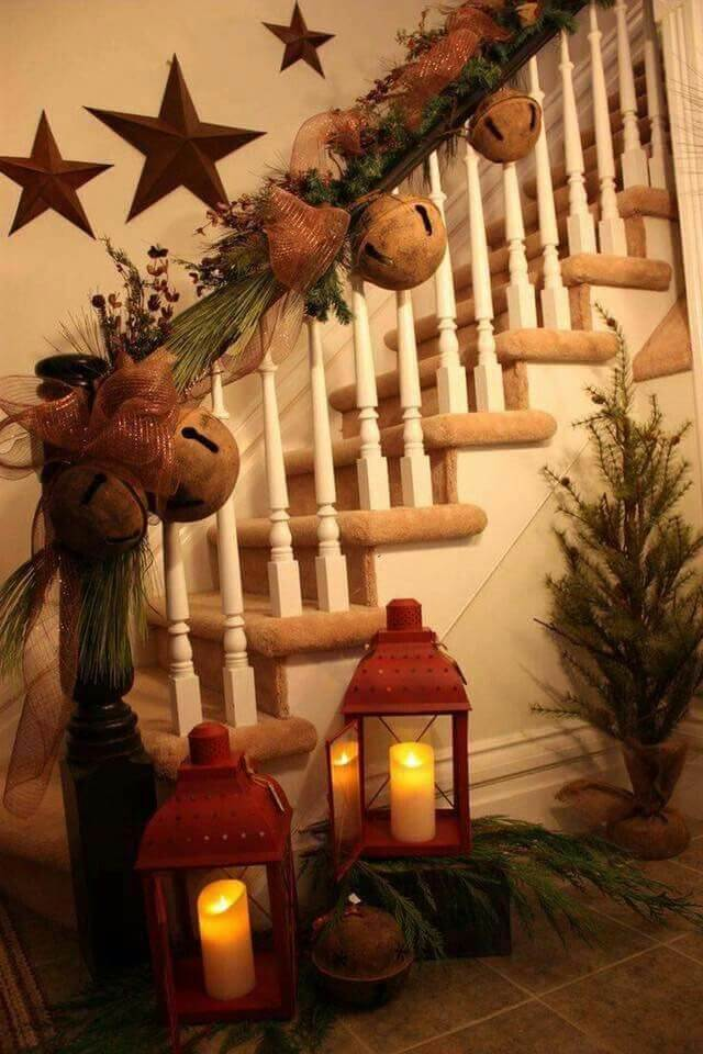 Rustic bells christmas stairs decoration