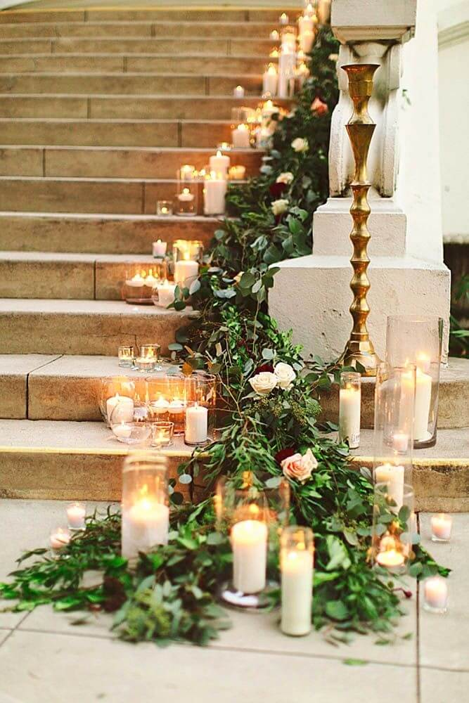 Candles and wreaths staircase