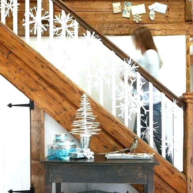Winter snowflakes stairs decoration