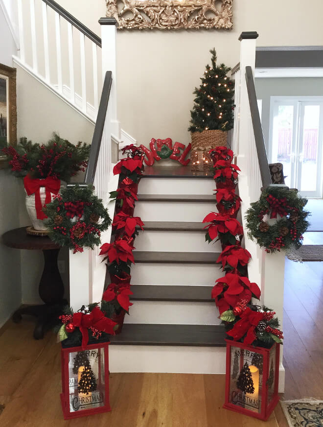 Red poinsettias and christmas letters