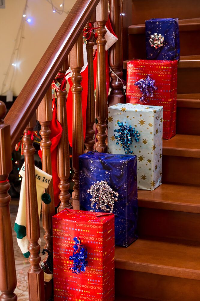 Christmas presents on the staircase