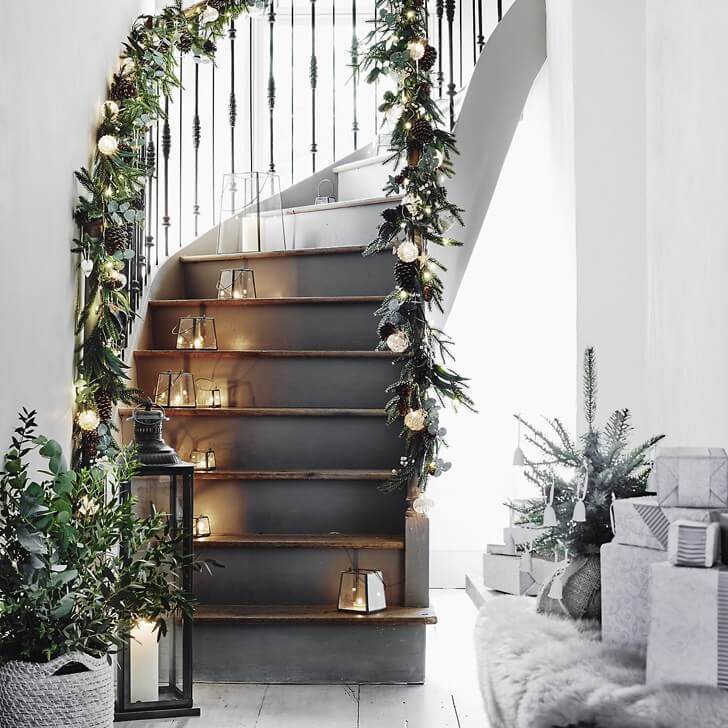 Scandinavian Christmas stairs decoration