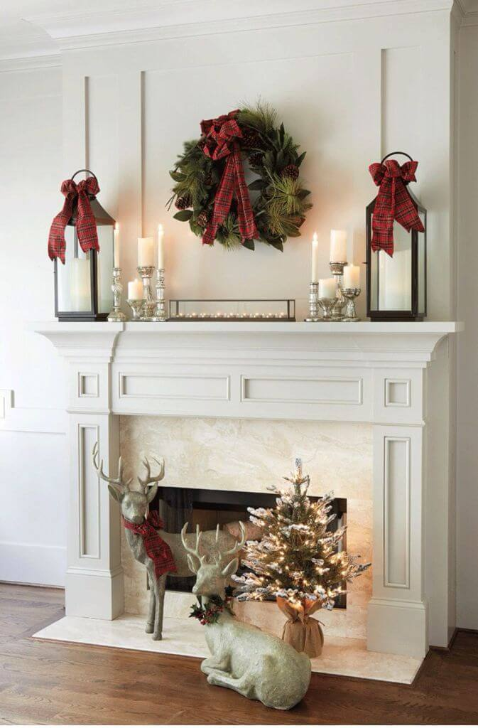 Christmas Lanterns Fireplace Mantel Decor