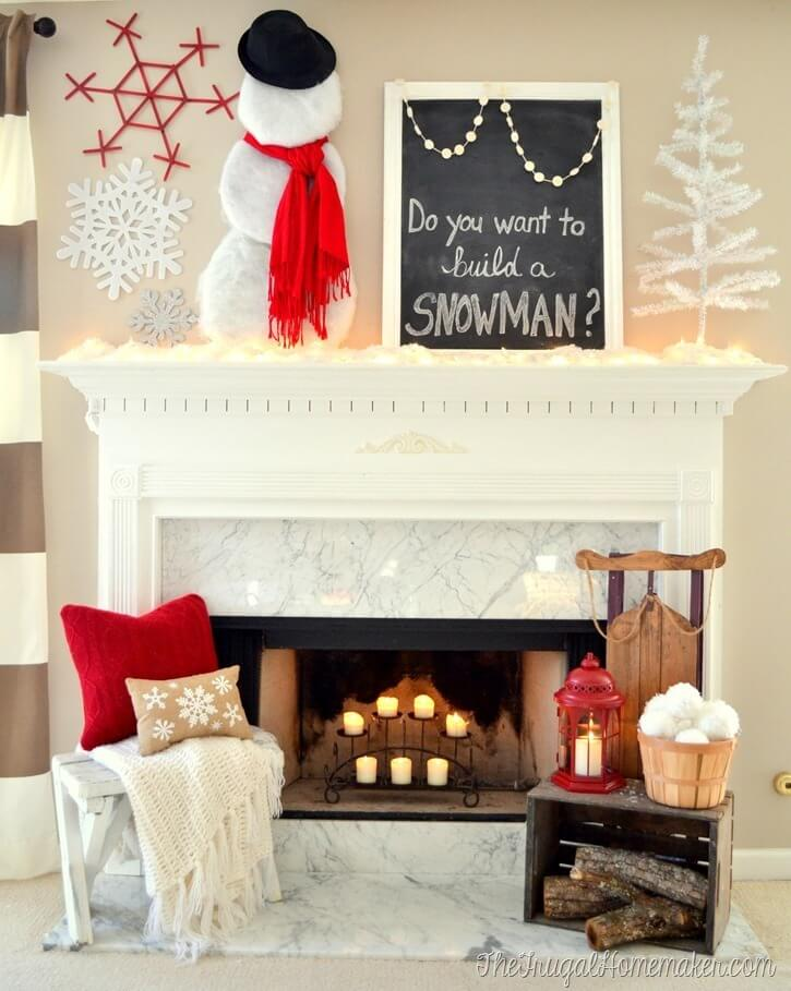 Winter snowman fireplace mantel decor
