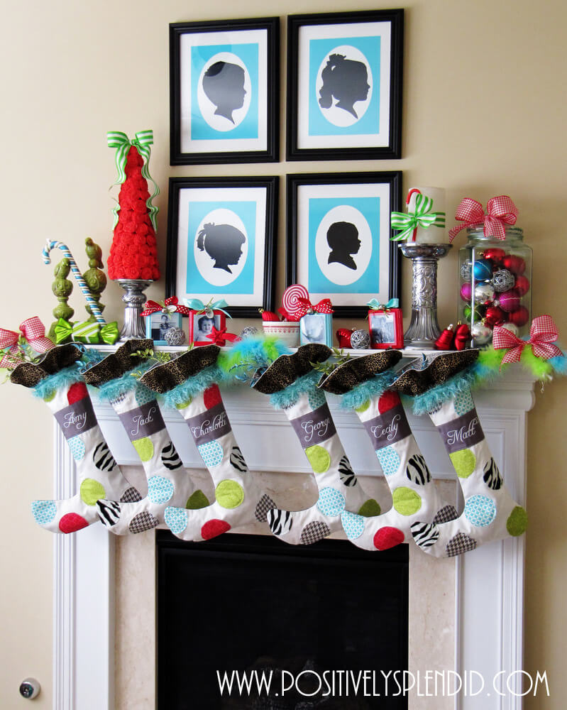 Colorful whimsical Christmas mantle decor