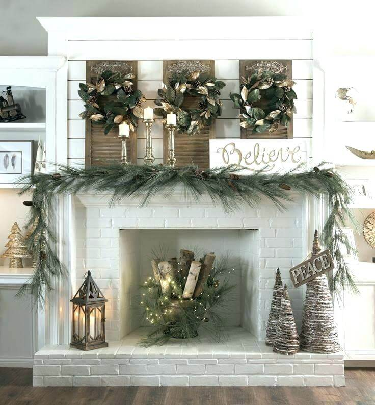 Wreath Trio Fireplace Mantel Decor