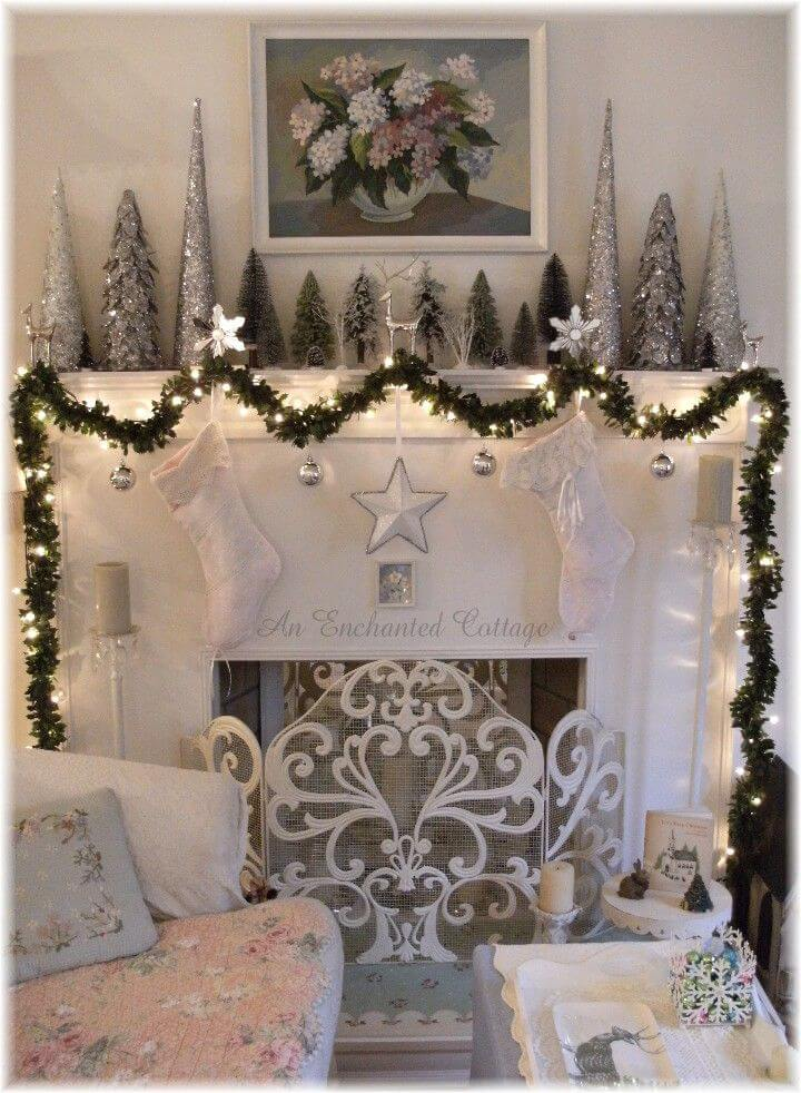 Glittery Silver Fireplace Christmas Decor