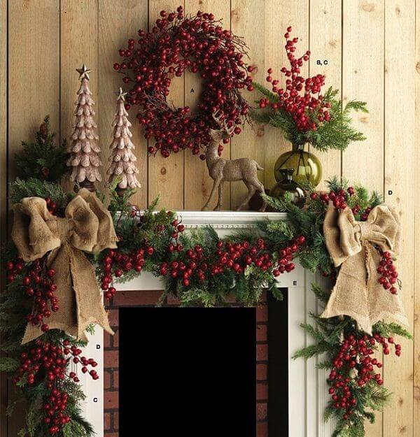 Red berries christmas mantle decor