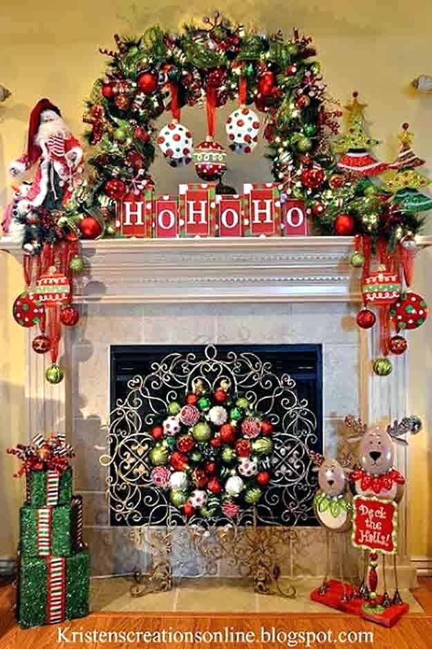 Whimsical Christmas fireplace
