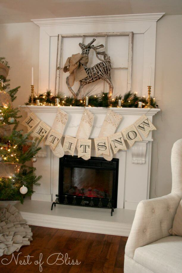 Farmhouse Christmas Fireplace Mantel