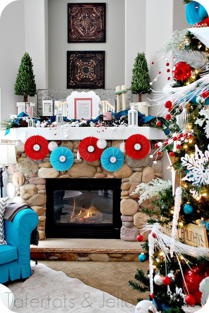 Paper ornament DIY fireplace decor