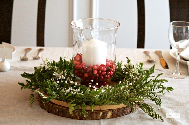 DIY Cranberry Candles Christmas Centerpiece