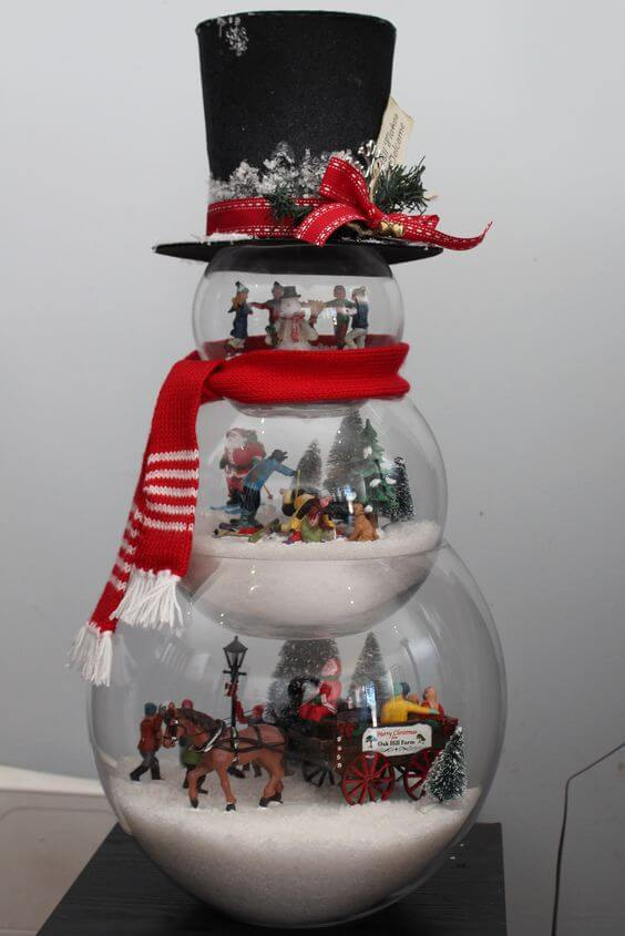 Fishbowl Snowman Christmas Centerpiece