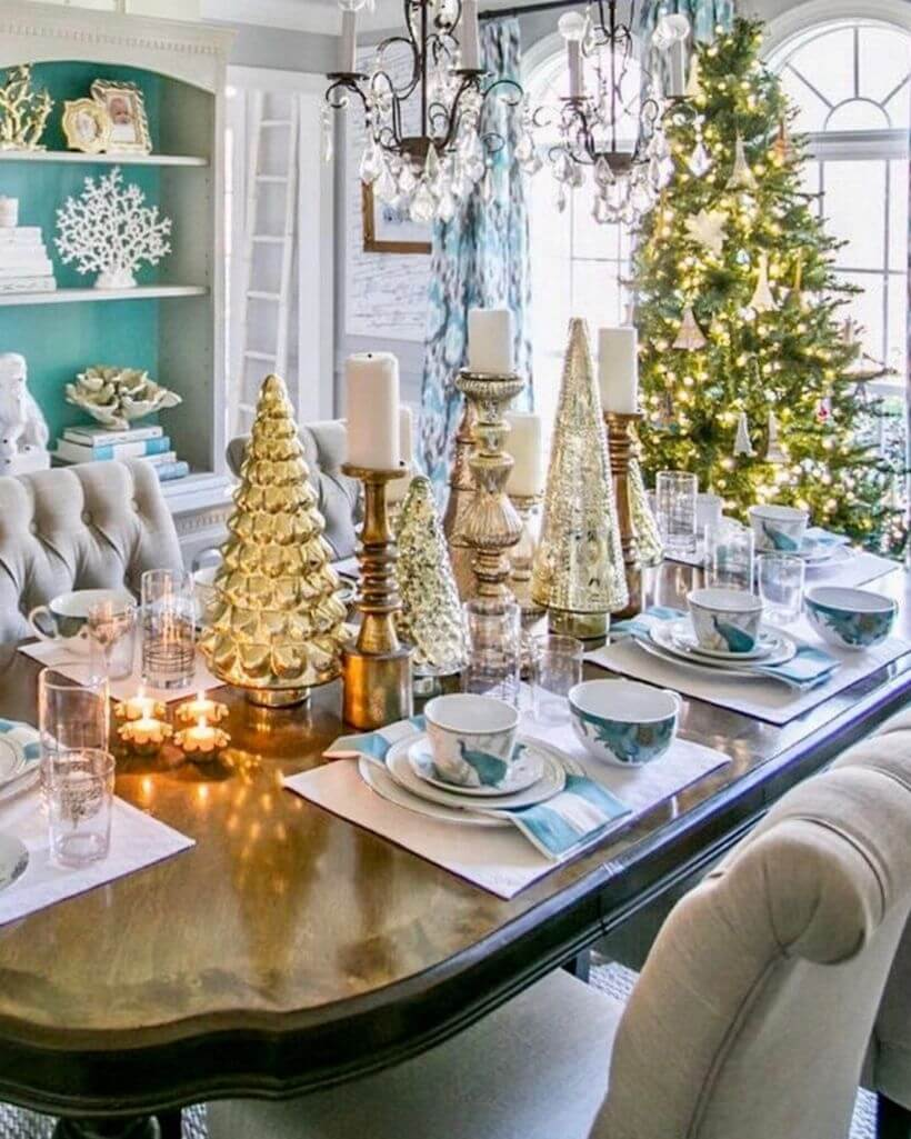 Gold silver Christmas centerpieces
