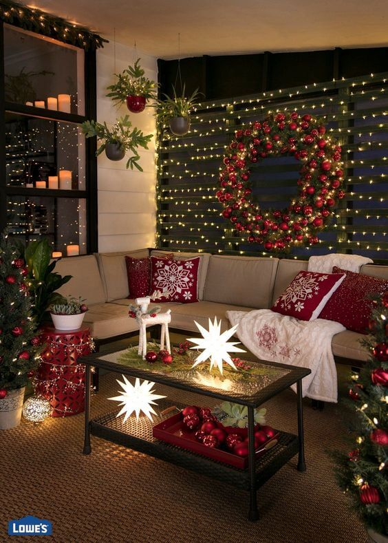 Christmas lights modern porch decoration