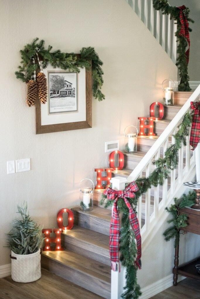 Modern Christmas sign stair decoration