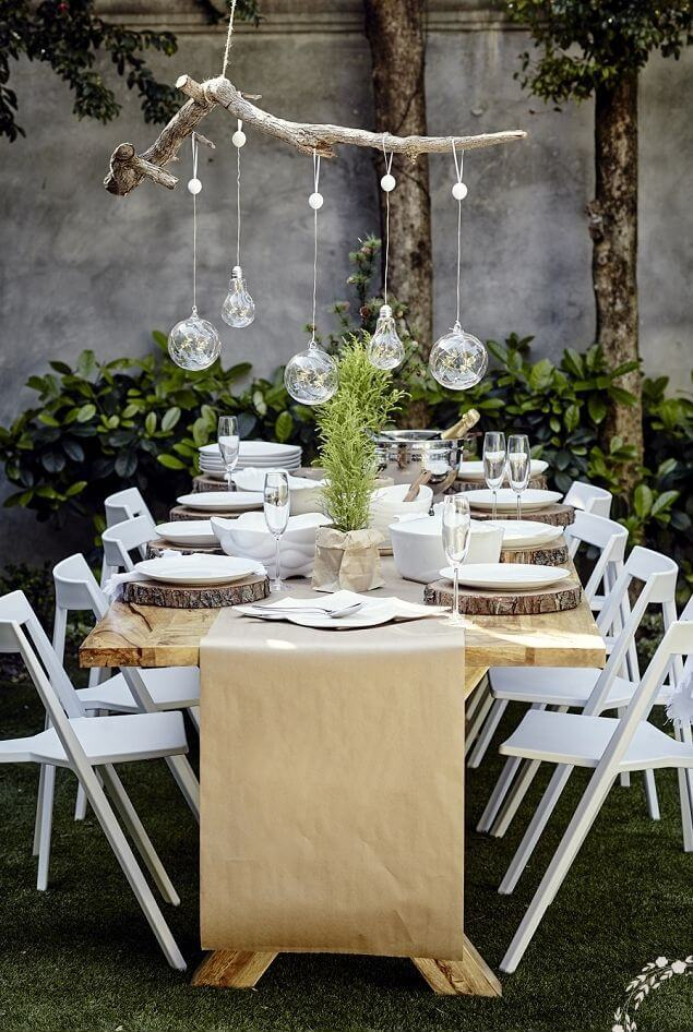 Outdoor garden table rustic settings