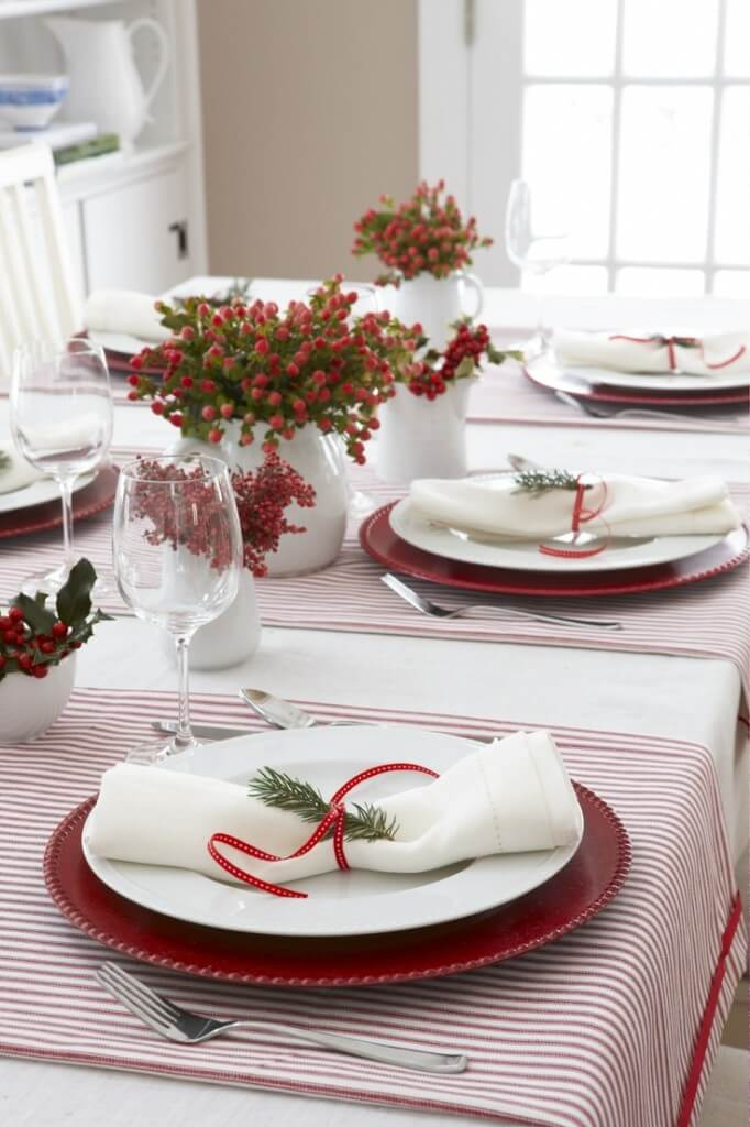 Rustic setting for modern Christmas table