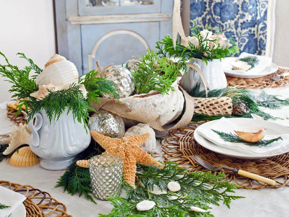 Rustic coastal Christmas table setting